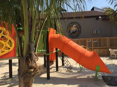 An orange slide and white sand beneath a palm tree with the Parched Pelican logo in the background at the Parched Pelican at Ocean City Maryland